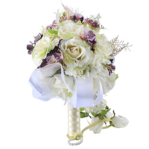 Zebratown Waterfall Bride Bouquet Artificial Rose Flower Wisteria Vine Wedding Bridal Bridesmaids Bouquets (Purple)