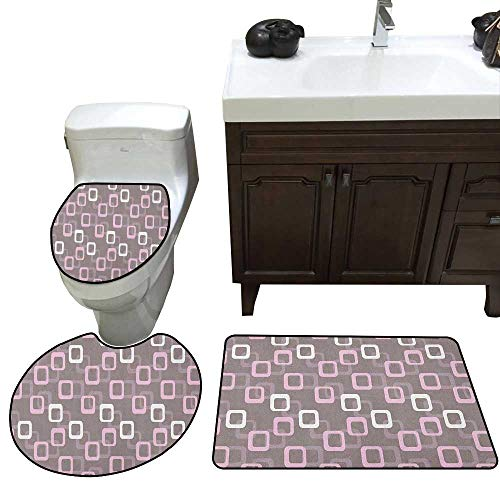 Moeeze-Home Geometric Three-Piece Toilet seat Retro Square Shapes Pattern Oval Corners Soft Toned Vintage Inspired Skidproof Toilet Seat Bathroom Floor Mat Warm Taupe Pink White
