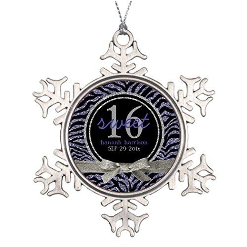 SS OPER Personalised Christmas Tree Decoration Wild Glitter Look Zebra Sweet 16 Retro Christmas Snowflake Ornaments ()