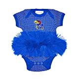 Two Feet Ahead NCAA Kansas Jayhawks Children Girls Pin Dot Tutu Creeper,Nb,Royal