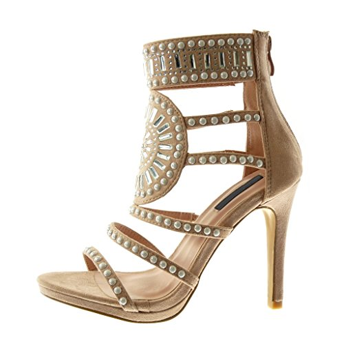 Mode Haut Bottine Chaussure Bride Aiguille Multi Diamant Talon 11 Femme Angkorly Perle Stiletto cm Sandale Strass q75gE