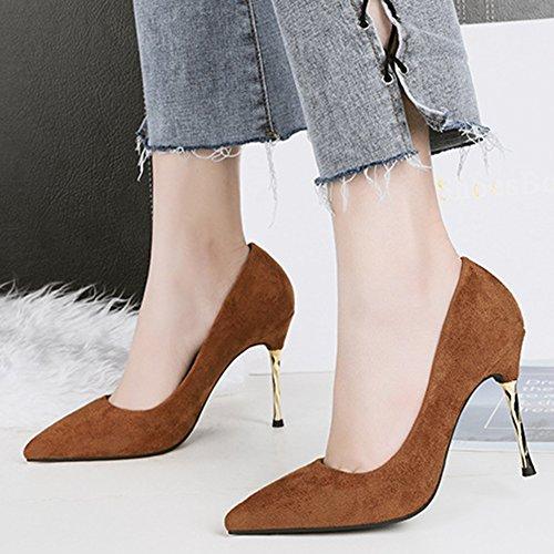 Aisun Vêtements De Mode Pour Travailler Bureau Habillé Coupe Basse Stiletto Talon Haut Bout Pointu Slip Sur Les Chaussures Chaussures Marron