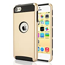 iPod Touch 6 & 5 Case, Asstar Heavy Duty Case for Apple iPod Touch 6th Generation_2015 Released, 2-Piece Style Hybrid Hard Cover (Gold Black)