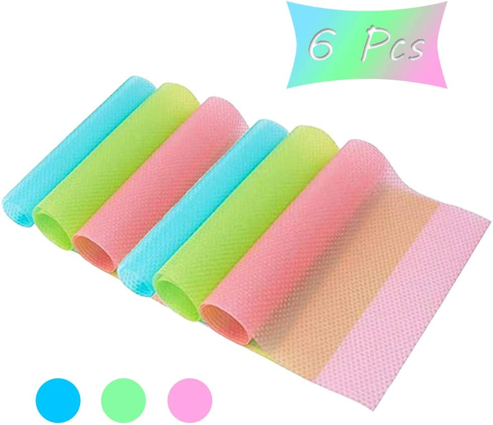 6 Pcs Refrigerator Mats,3 Mixed Colors(2 Pink/2 Green/2 Blue),Washable Can Be Cut,Refrigerator Pads Fridge Mats Drawer Table Placemats Shelves Drawer Table Mats