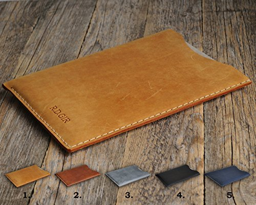 Leather Tablet Cover works with Sony Xperia Z4 Tablet Z3 Compact Z2 VAIO Tap 11 Z, Monogrammed Case, personalized Sleeve, Hand Sewn Rought Vintage Style Bag ()