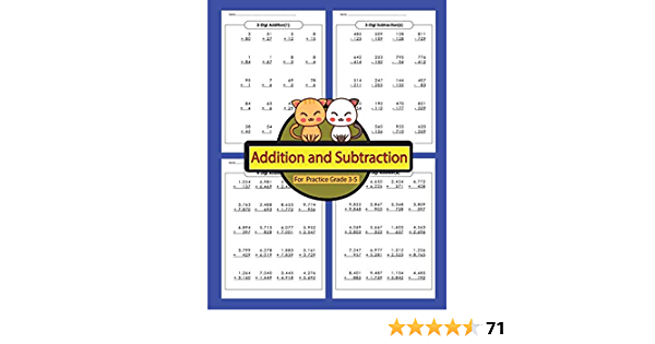 Addition And Subtraction For Practice Grade 3-5: Addition And Subtraction  Workbooks Math Practice Worksheet Arithmetic Workbook With Answers For  Kids: Lequire, Marin: 9781985822405: Amazon.com: Books