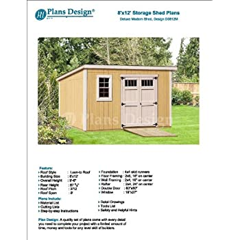 8 x 14 deluxe storage shed plans building blueprints modern 8 x 12 deluxe back yard storage shed project plans do it yourself modern roof style design d0812m solutioingenieria Image collections