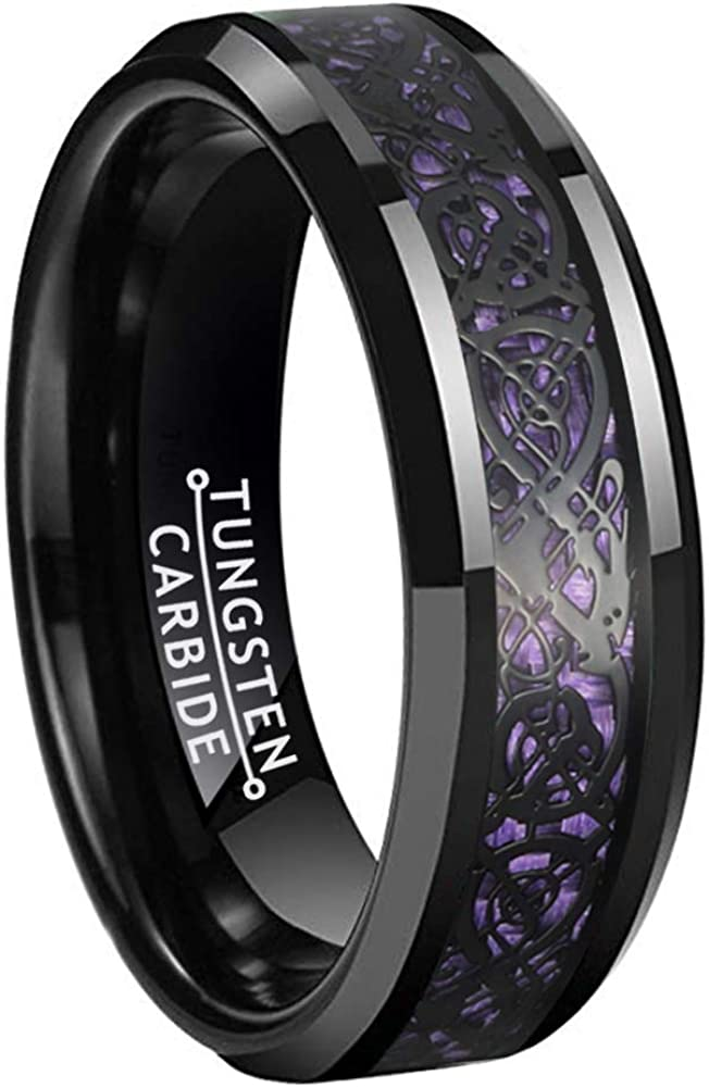 BestTungsten 6mm 8mm Black Tungsten Rings for Men Women Wedding Bands Celtic Dragon Purple/Green/Blue/Red Carbon Fiber Inlay Beveled Edges Comfort Fit