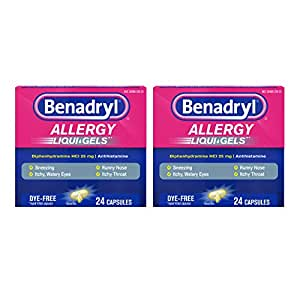 Benadryl Liqui-Gels Antihistamine Allergy Medicine & Cold Relief, Dye Free, 24 ct (Pack of 2)