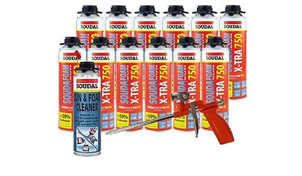 Soudal Vajilla (12 x Souda Foam B2 X de tra750 500 ml Pistola de espuma verfüllung Diseño Conector Juntas Incluye limpiador + pistola de espuma Compact de ...