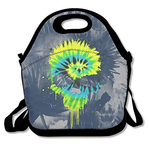 Onisea Yater Tie Dye Peace Skull Tie-dye Reusable Adjustable Waterproof Insulated Lunch Bag Lunch Tote Lunch Box For Adults Men Women Girls Boys Kids