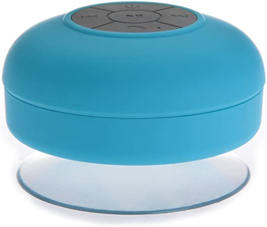 Altavoz bluetooth ducha Inalámbrico Impermeable con Ventosa Manos libres baño Piscina Coche Cocina con microfono Impermeable Portatil Azul Compatible con móvil y tablet para iPhone, iPad, iPod, Samsung Galaxy, Nokia, HTC, Blackberry,