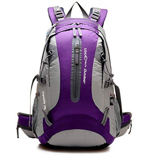 Pureed Outdoor Camping Bergsteigen Freizeit Mode Stylisch Wandern Wasserdicht Rucksack Freizeit Sport Tasche (Farbe   lila, Größe   One Größe)