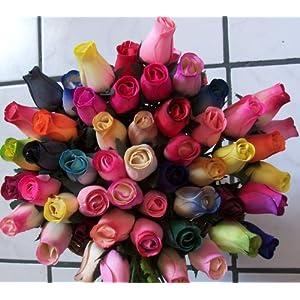 2 Dozen (24) Wooden Roses Colorful Arrangement in Sleeve 2