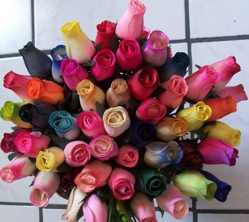 2-Dozen-24-Wooden-Roses-Colorful-Arrangement-in-Sleeve