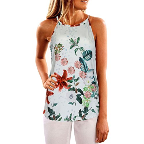 Ankola Women's Tank Top Clearance, Casual Floral Print Sleeveless Shirt Tops Tanks Tee Camis (M, Multicolor) (Print Sleeve Multi Tee)