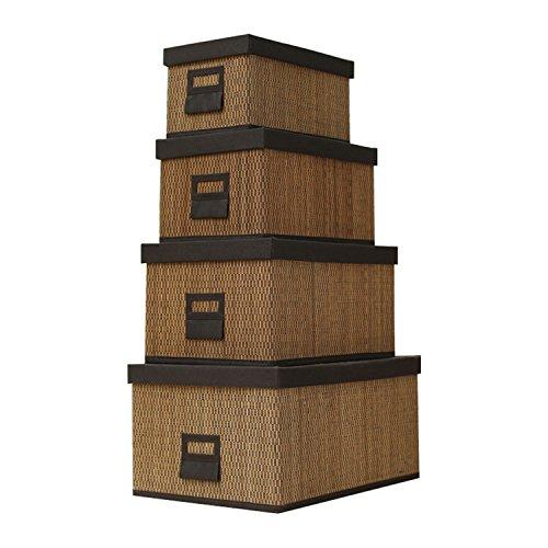 Wicker Collapsible Storage Bin Basket Weave Tweed Storages For Home Tool Storage or Children Toys Storage Set of 4 by MrBambu