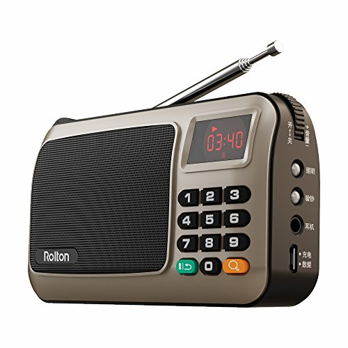 Rolton W405 Portable Mini FM Radio Speaker Music Player TF Card USB For PC iPod Phone with LED Display (Gold) - Battery Technology Ipod Speaker