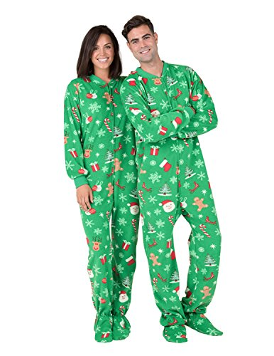 Footed Pajamas - - Tis The Season Adult Fleece Onesie
