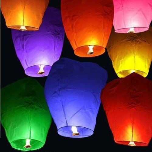 Sky Fly Fire Lanterns SL-000-5 Chinese Sky Fly Fire Lanterns Wish Party Wedding Birthday, Multi Color, 100-Pack