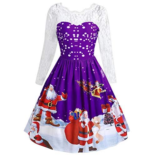 Christmas Retro Dress Women's Fashion Lace Long Sleeve Print Party Swing Dress ANJUNIE(Purple,S)