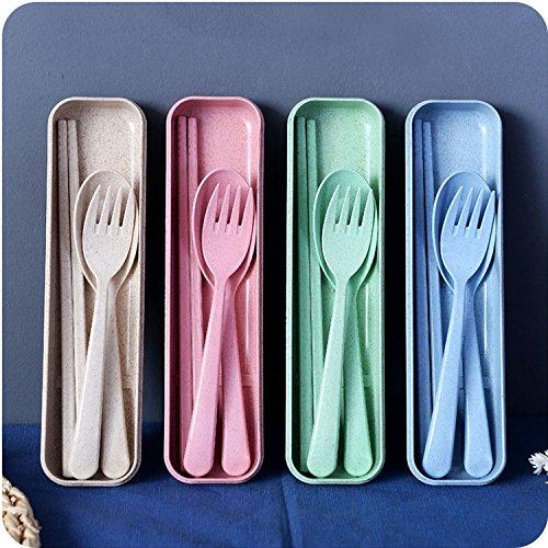 麦わら3ピーススプーン箸フォーク調理器具セット 学生旅行カトラリーセット キャンプテーブルウェアセット  4パック B078HNJ9LM
