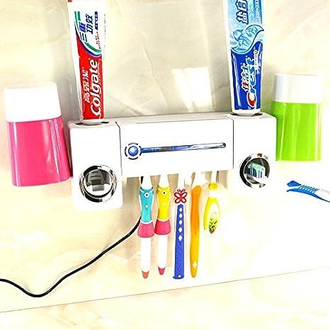 Luz ultravioleta esterilizador desinfectante para cepillos de dientes + dispensador de pasta de dientes 5 soportes