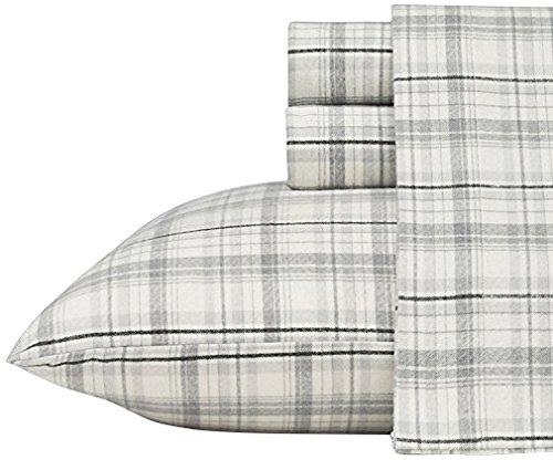 Eddie Bauer Beacon Hill Flannel Sheet Set, Queen, Gray