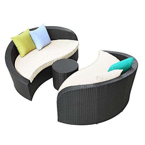 Modway Twirl Outdoor Wicker Patio 3 Piece Sofa Set