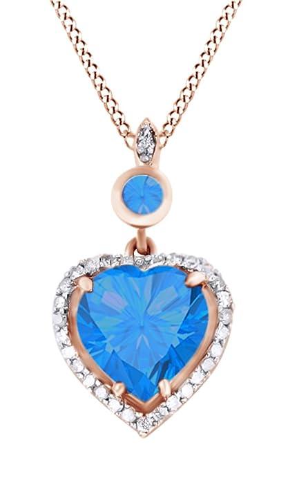 bf64813c0224 Simulado azul topacio blanco y diamante Natural collar con colgante en  forma de corazón en oro de 14 K En Plata De Ley  Amazon.es  Joyería