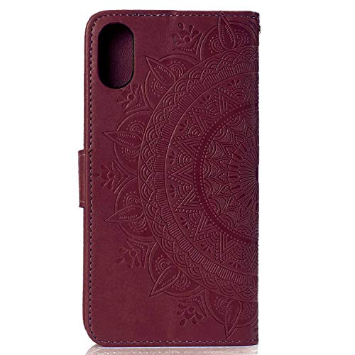 Case iPhone XR, Bear Village PU Leather Embossed Design Case with Card Holder and ID Slot, Wallet Flip Stand Cover for Apple iPhone XR (#7 Brown) by Bear Village (Image #1)