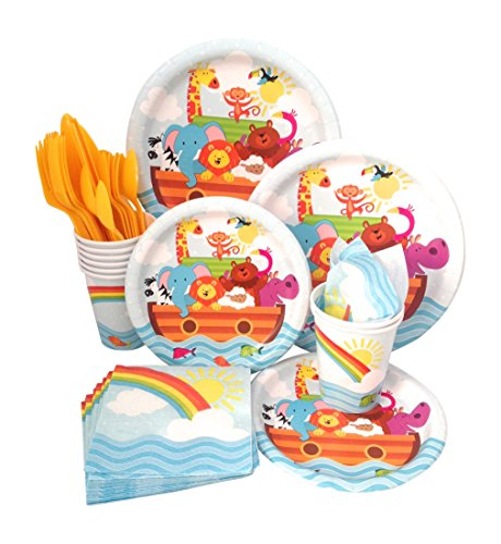 Noahs Ark Baby Shower Supply Pack! Bundle Includes Paper Plates, Napkins, Cups & Silverware for 8 Guests ()