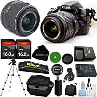 D3200 24.2 MP CMOS Digital SLR, NIKKOR 18-55mm f/3.5-5.6 Auto Focus-S DX VR, 2pcs 16GB BaseDeals Memory, Camera Case