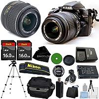 D3200 24.2 MP CMOS Digital SLR, NIKKOR 18-55mm f/3.5-5.6 Auto Focus-S DX VR, 2pcs 16GB BaseDeals Memory, Camera Case