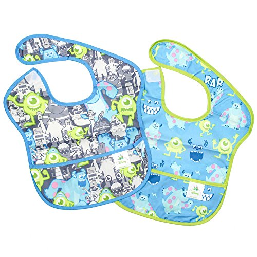 Bumkins Disney Baby Waterproof SuperBib 2 Pack, Monsters Inc. (Gray/Blue) (6-24 Months)