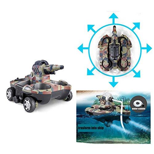 Tank Car Remote Control Toy - HKJC Amphibious Remote Control Tank Vessel Charge Jet Water Jet Remote Control Car toy