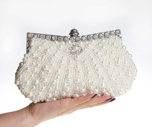 Pink Bags Purses Pearls Beaded Handbag KAXIDY White Evening Clutches 0q7xnY
