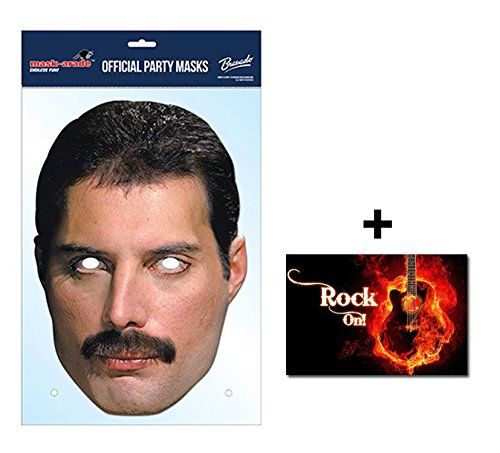 Mask Pack - Freddie Mercury Official Queen Card Party Face Mask includes 6x4 inch (15cm x 10cm) Star Photo