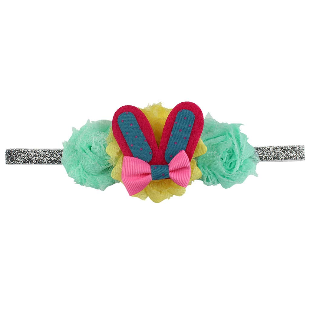 Easter Babies Child Headband Flower Rabbit Ears Hair Band Easter Sunday Multicolor