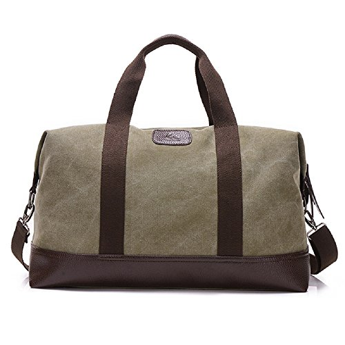 Classic Canvas Duffel Bag Weekender Overnight Travel Tote Oversized Luggage Bag(Navy Green)