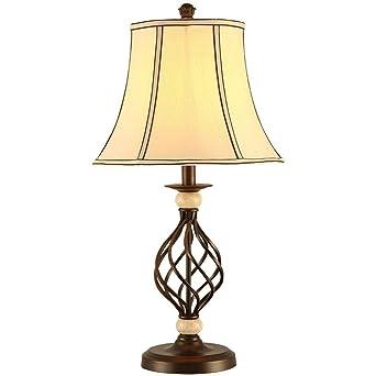 Le European Style Satin Black Barley Twist Table Lamp With A Cloth
