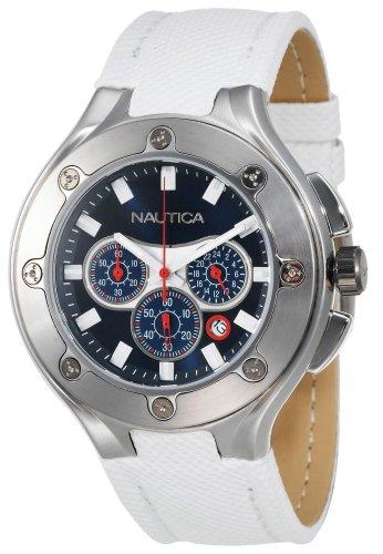 Chronograph White Polyurethane - Nautica Men's N25510G NCS-100 White Polyurethane Strap Chronograph Watch
