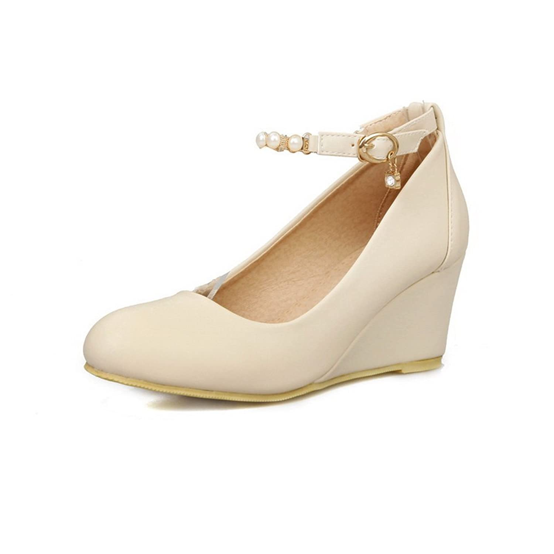 BalaMasa Ladies Solid Kitten-Heels Round-Toe Buckle Metal Chain Rubber Pumps-Shoes