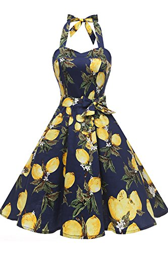 Topdress Women's Vintage Polka Audrey Dress 1950s Halter Retro Cocktail Dress Lemon S