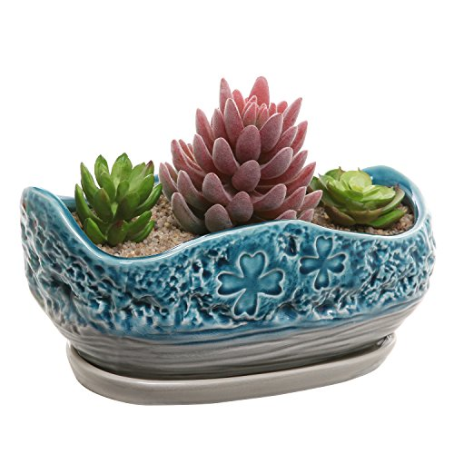 MyGift Turquoise & Gray Clover Design Ceramic Flower Plant Pot/Decorative Centerpiece Planter with - Centerpiece Jade