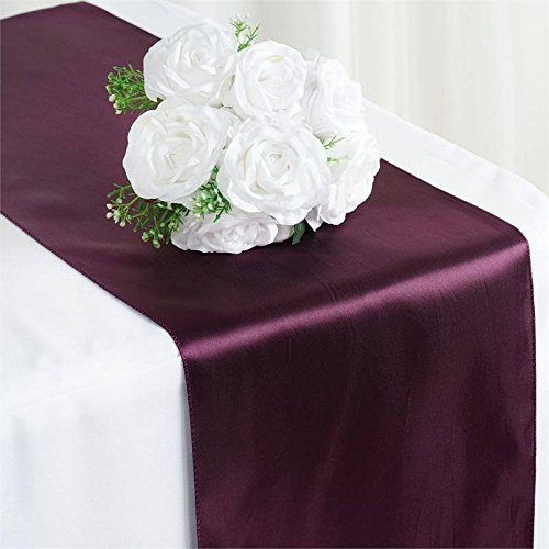- Tiger Chef 3-Pack Eggplant 12 x 108 inches Long Satin Table Runner for Wedding, Table Runners fit Rectange and Round Table Decorations for Birthday Parties, Banquets, Graduations, Engagements