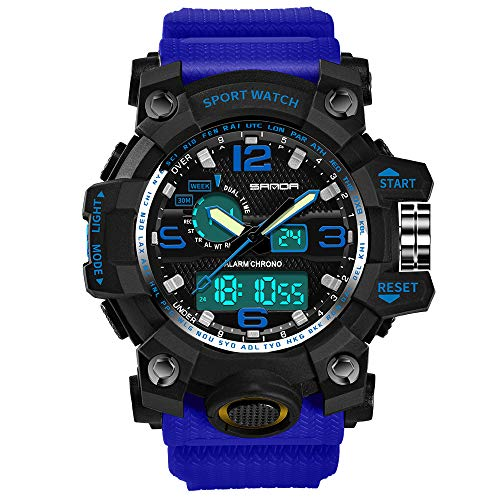 Mens Sports Analog Quartz Watch Dual Display Waterproof Digital Watches with LED Backlight relogio masculino (Blue Black)