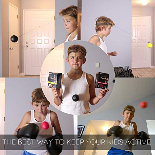 TEKXYZ Boxing Reflex Ball 2 Difficulty Level Boxing Ball with Headband Softer