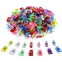 IPOW 100 PCS-2 Sizes Plastic Clips Multicolor for Sewing Clips,Crafting,Crochet and Knitting,All Purpose Clips for Quilting Binding Clips,Paper Clips,Blinder Clips