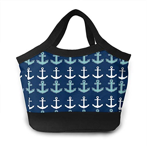 Lunch Box Totebox Non-Toxic Polyester Lunch Organizer Reusable Storage Bag Container New Nautical Anchor Pattern Navy Blue Teal Snack Bag for Women Men Kids Girl Boy, Work School Picnic Beach -